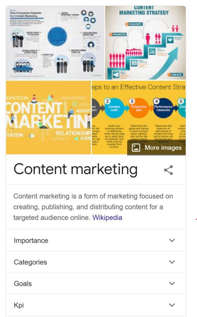Content Marketing Position Zero Image SERP Result